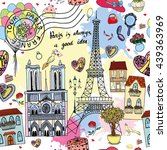 cute paris card   seamless... | Shutterstock .eps vector #439363969