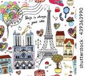 cute paris card   seamless... | Shutterstock .eps vector #439363990