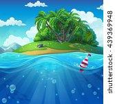 undersea with island. marine... | Shutterstock .eps vector #439369948