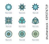 Vector Yoga Mandala Line Badge...