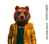 portrait of bear hipster in... | Shutterstock . vector #439376809