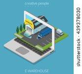 isometric e warehouse store... | Shutterstock .eps vector #439378030