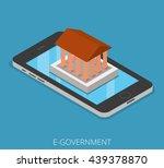 isometric e government tablet... | Shutterstock .eps vector #439378870
