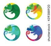 Set Of Modern Vector Chameleon...