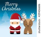 santa and deer cartoon icon.... | Shutterstock .eps vector #439406686