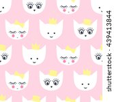 kitty seamless pattern. baby... | Shutterstock .eps vector #439413844