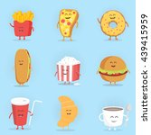 Set Of Cute Cartoon Fast Food...