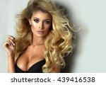 sexy blond woman wear black... | Shutterstock . vector #439416538
