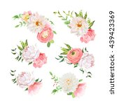 small summer bouquets of rose ... | Shutterstock .eps vector #439423369