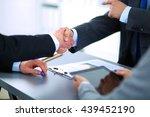 business people shaking hands ... | Shutterstock . vector #439452190