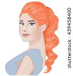pretty fashion girl with ginger ... | Shutterstock .eps vector #439458400