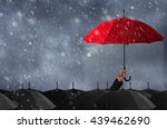 umbrella in mass of black...   Shutterstock . vector #439462690