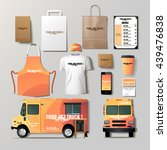vector food truck corporate... | Shutterstock .eps vector #439476838