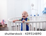 cute laughing baby standing in... | Shutterstock . vector #439514890