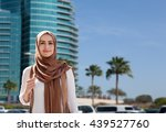 girl in a hijab on city... | Shutterstock . vector #439527760