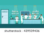 scientist male and female... | Shutterstock .eps vector #439539436
