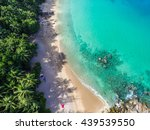 aerial view of cozy white sand... | Shutterstock . vector #439539550
