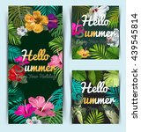 poster with tropical leaf and... | Shutterstock .eps vector #439545814