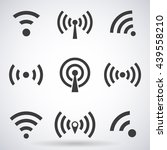 set of wi fi icons and wireless ... | Shutterstock .eps vector #439558210