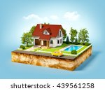 white house of dream on a piece ... | Shutterstock . vector #439561258