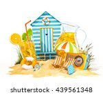 colorful retro beach hut  ... | Shutterstock . vector #439561348