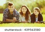 portrait of happy teenagers on... | Shutterstock . vector #439563580