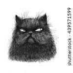 Stock photo black cat illustration on white background 439571599