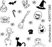 set with halloween doodle... | Shutterstock .eps vector #439577380
