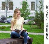 young beautiful blonde girl... | Shutterstock . vector #439590484