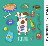 funny set of dog life icons.... | Shutterstock .eps vector #439592164