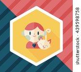 pet cat and boy friendship flat ... | Shutterstock .eps vector #439598758
