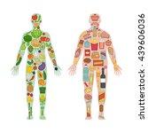 fresh vegetables and fruit in...   Shutterstock .eps vector #439606036