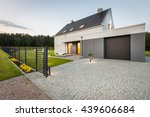 stylish villa with fence ... | Shutterstock . vector #439606684