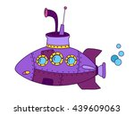 purple submarine cartoon  hand... | Shutterstock .eps vector #439609063