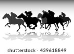 horse race silhouettes   vector | Shutterstock .eps vector #439618849