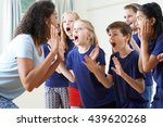 group of children with teacher... | Shutterstock . vector #439620268