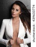 sexy slim brunette woman posing ... | Shutterstock . vector #439633774