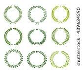 set of nine green silhouette... | Shutterstock .eps vector #439634290