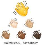Waving Hand Sign Emoji Set Of...