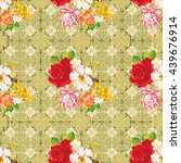 seamless floral pattern with... | Shutterstock .eps vector #439676914