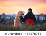enjoying sun. man is caressing... | Shutterstock . vector #439678753