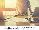 business plan man putting his... | Shutterstock . vector #439693258