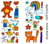 kindergarten doodle pictures on ... | Shutterstock .eps vector #439721098