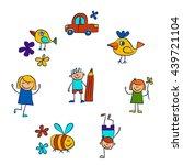 kindergarten doodle pictures on ... | Shutterstock .eps vector #439721104