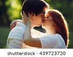stunning couple kisses tender... | Shutterstock . vector #439723720