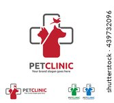 Stock vector pet clinic logo with dog cat and bird with cross symbol 439732096