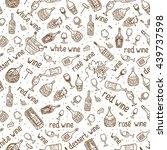 wine bottle  glass  grape vine... | Shutterstock .eps vector #439737598