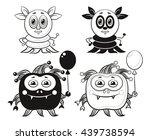 set of cute different cartoon... | Shutterstock .eps vector #439738594
