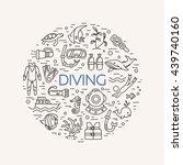 diving icons set. underwater... | Shutterstock .eps vector #439740160