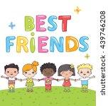 best friends   multiracial hand ... | Shutterstock .eps vector #439746208